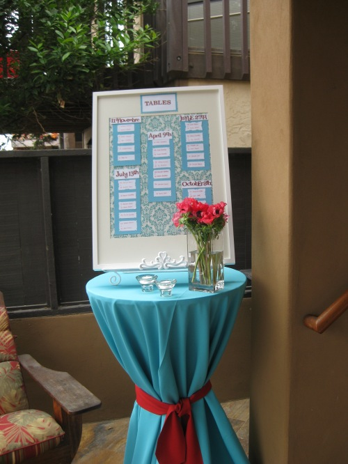 Table assignments at San Diego wedding