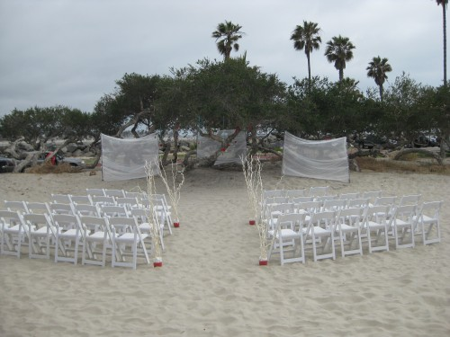 Beach ceremony site at San Diego wedding