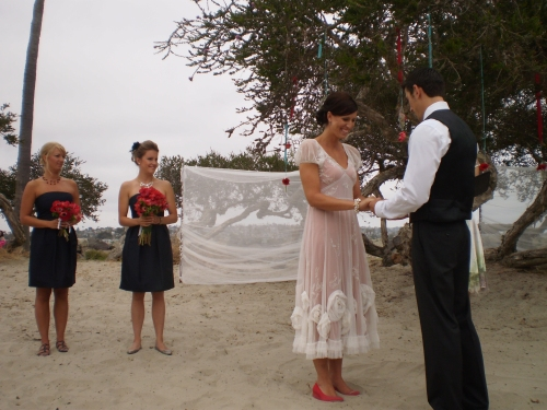 Bridesmaids and Bride and Groom at San Diego wedding