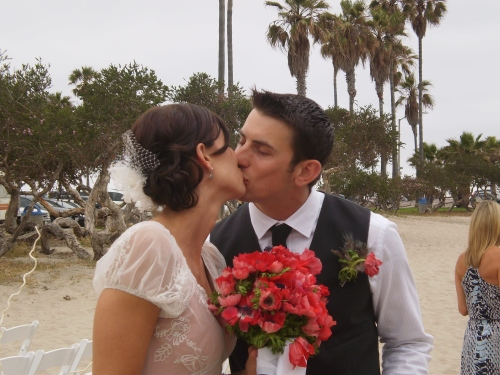 Bride and Groom kissing at San Diego wedding