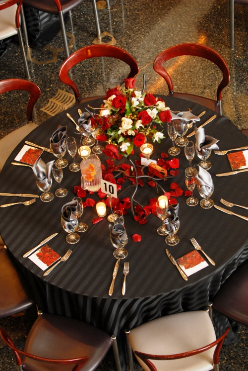 Black, silver, and red themed wedding