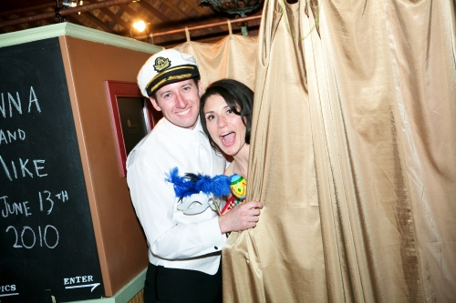 Bride and Groom in a photo booth