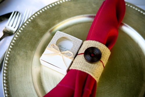 Napkin with Burlap and Button details