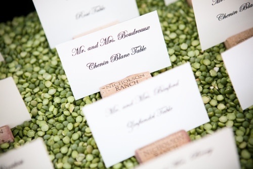 Seating assignments set in a bed of peas