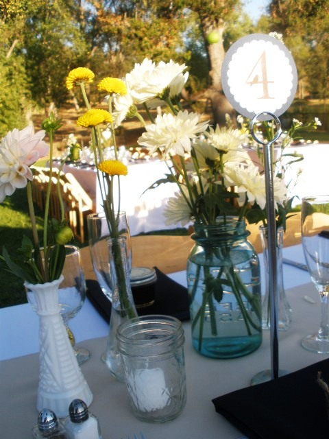 Wildflower centerpieces at Young's Vineyard