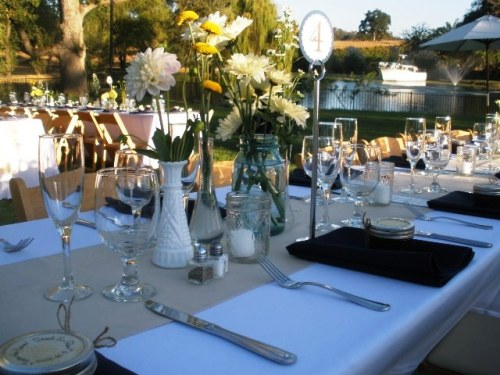 Centerpieces and place settings at Young's Vineyard