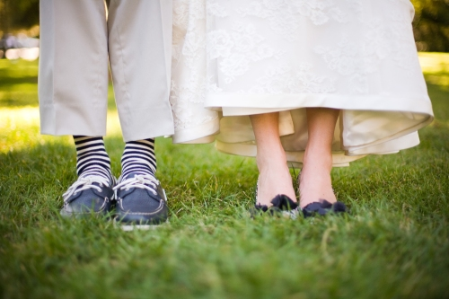 Bride and Groom's blue shoes!