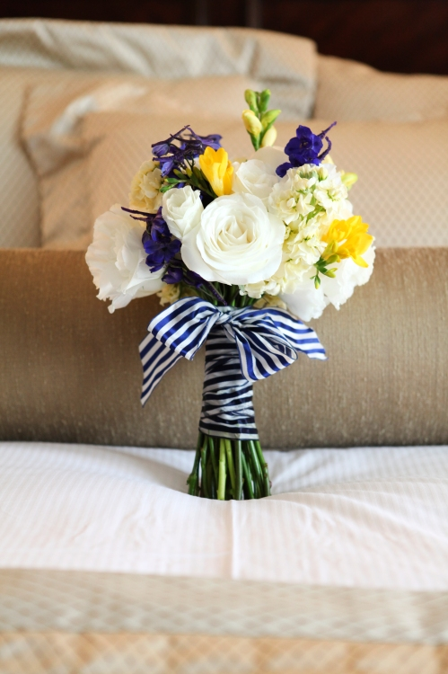 Blue, white, and yellow nautical bouquet