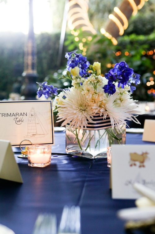 Blue and white nautical table setting